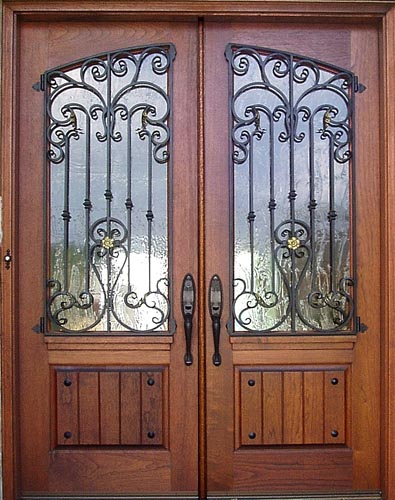 1000 images about front doors on pinterest double doors for Wood doors with wrought iron
